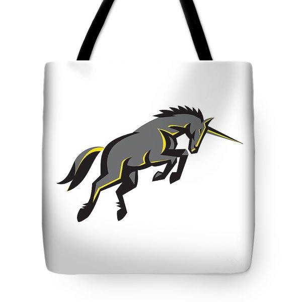 Black Unicorn Horse Charging Isolated Retro Tote Bag by Aloysius Patrimonio