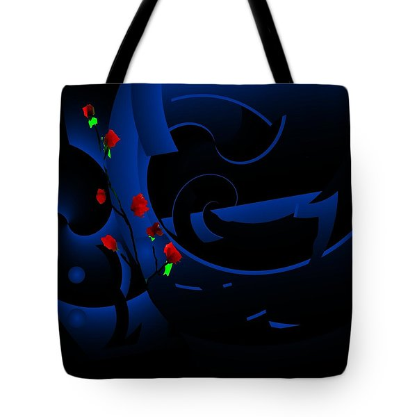 Blue Abstract Tote Bag by David Lane