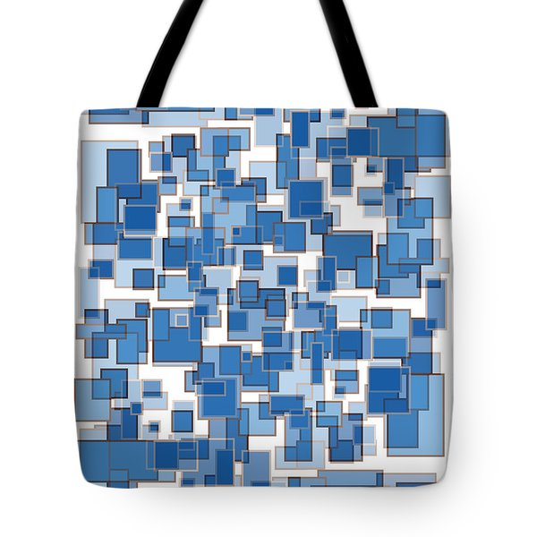 Blue Abstract Patches Tote Bag by Frank Tschakert