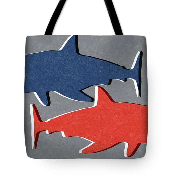Blue And Red Sharks Tote Bag by Linda Woods