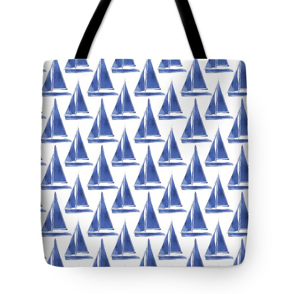 Blue And White Sailboats Pattern- Art By Linda Woods Tote Bag by Linda Woods