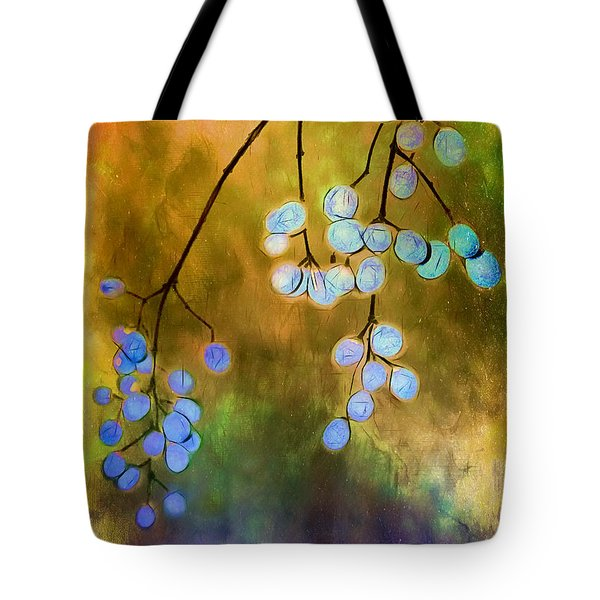 Blue Autumn Berries Tote Bag by Judi Bagwell