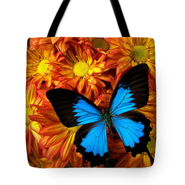 Blue Butterfly On Mums Tote Bag by Garry Gay