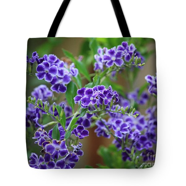 Blue Cottage Flowers Tote Bag by Carol Groenen