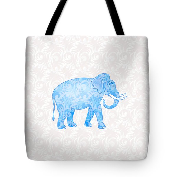 Blue Damask Elephant Tote Bag by Antique Images