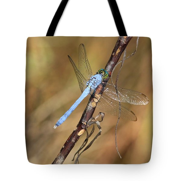 Blue Dragonfly Portrait Tote Bag by Carol Groenen