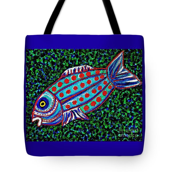 Blue Fish Tote Bag by Sarah Loft