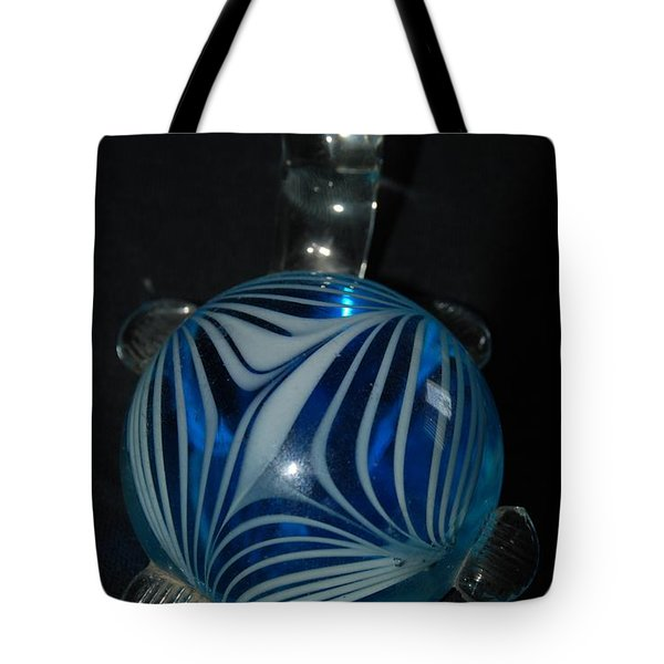Blue Glass Turtle Tote Bag by Rob Hans