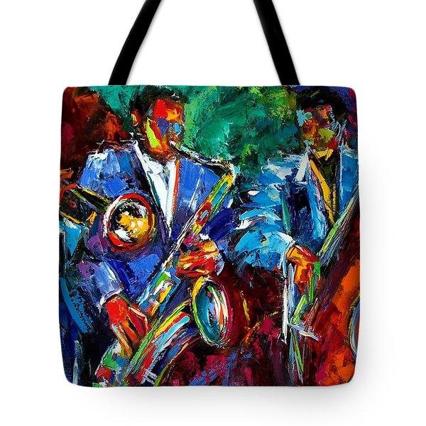 Blue Jazz Tote Bag by Debra Hurd