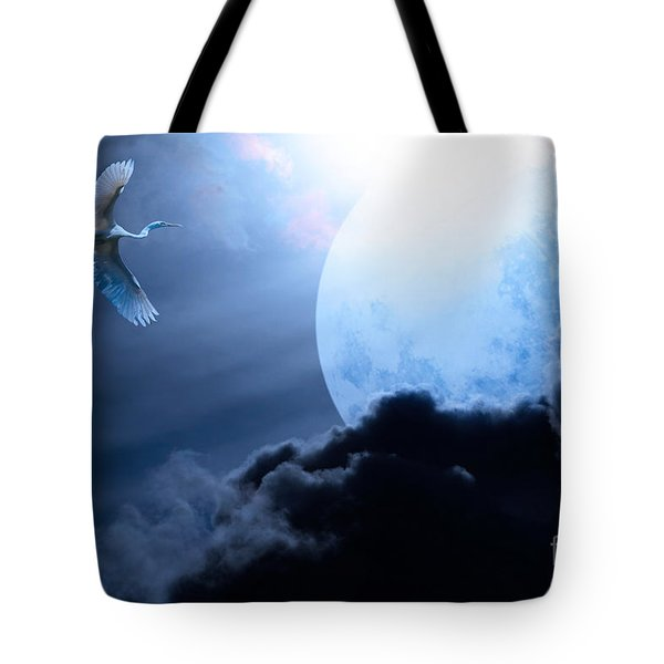 Blue Moon - 7D12372 Tote Bag by Wingsdomain Art and Photography