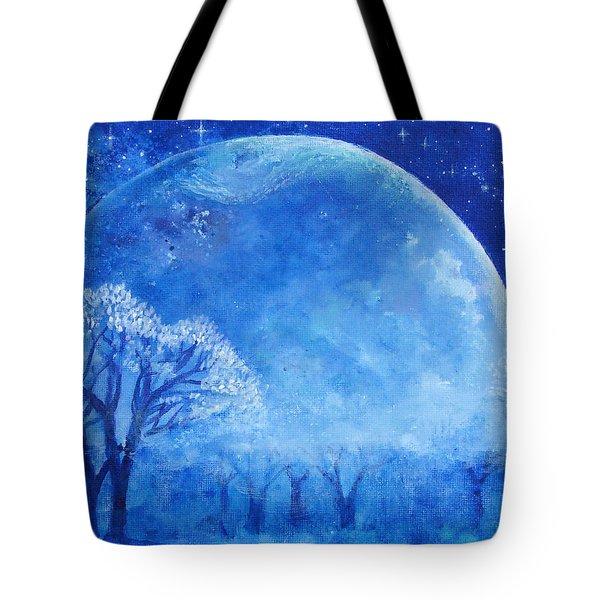 Blue Night Moon Tote Bag by Ashleigh Dyan Bayer
