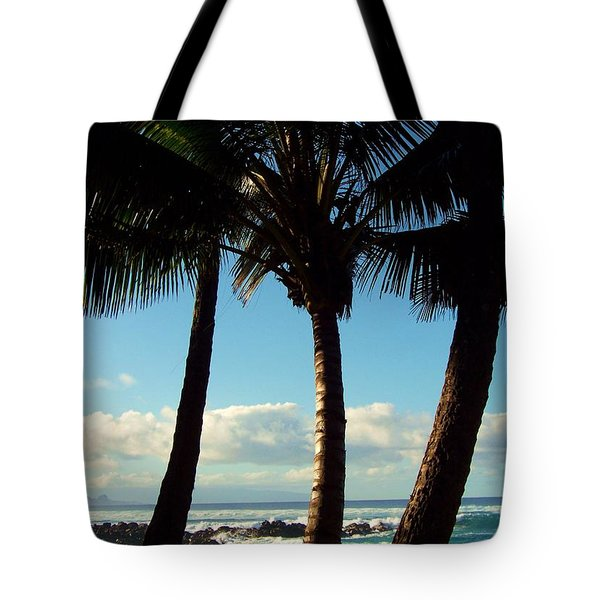 Blue Palms Tote Bag by Karen Wiles