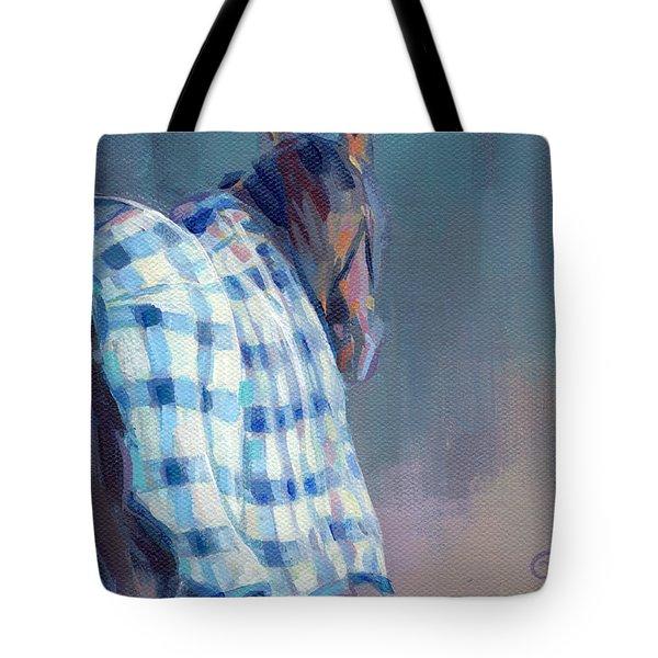 Blue Plaid Tote Bag by Kimberly Santini