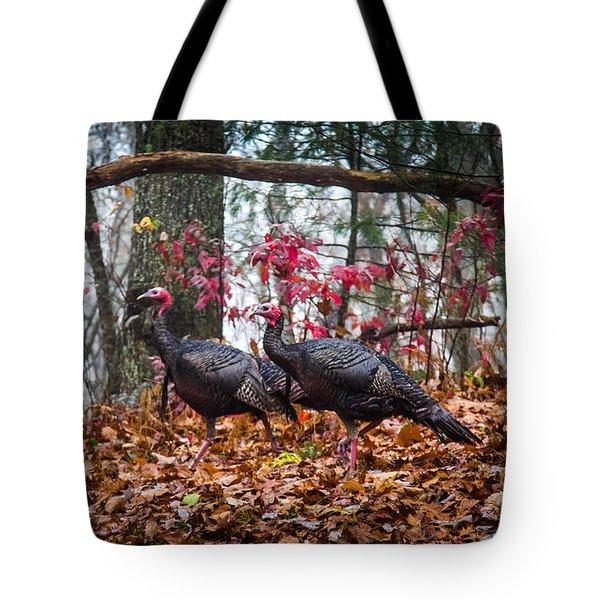 Blue Ridge Turkey Trot Tote Bag by Karen Wiles