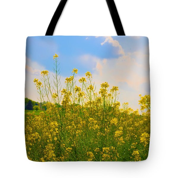 Blue Sky Yellow Flowers Tote Bag by Bill Cannon