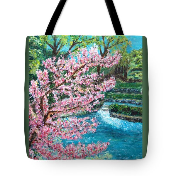 Blue Spring Tote Bag by Carolyn Donnell