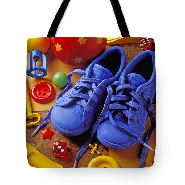 Blue tennis shoes Tote Bag by Garry Gay