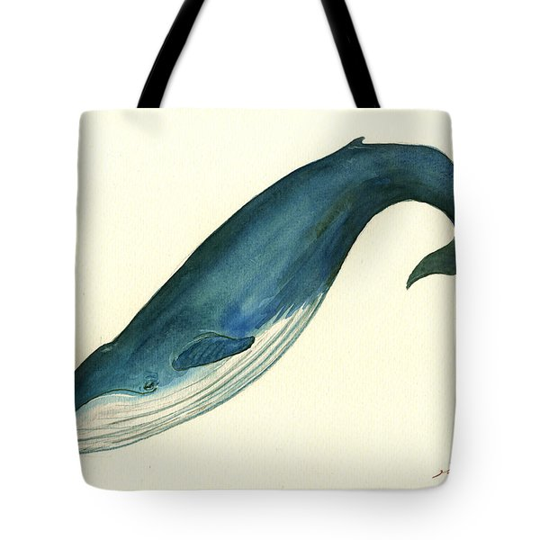 Blue Whale Painting Tote Bag by Juan  Bosco