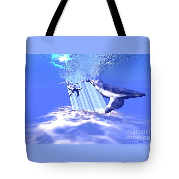 Blue Whales Tote Bag by Corey Ford