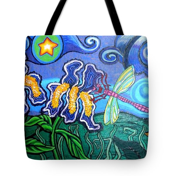 Bluebird Dragonfly And Irises Tote Bag by Genevieve Esson