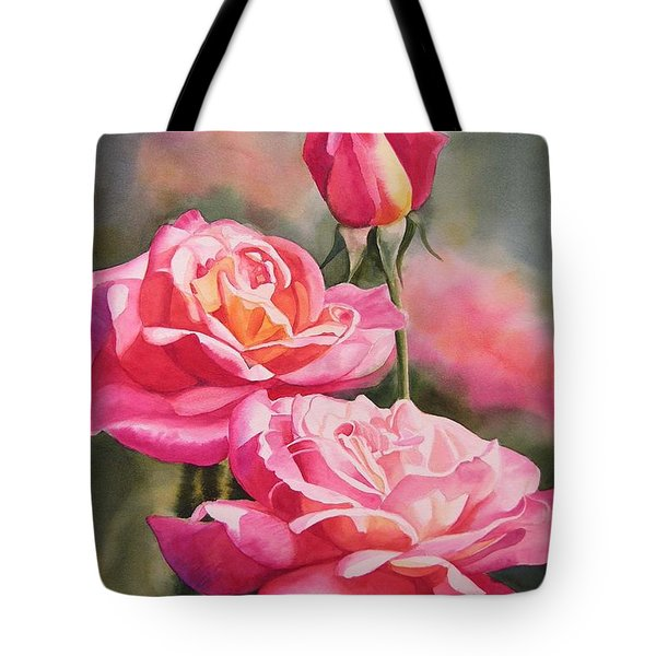 Blushing Roses with Bud Tote Bag by Sharon Freeman