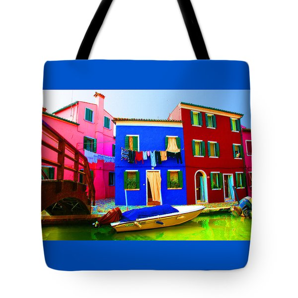 Boat Matching House Tote Bag by Donna Corless