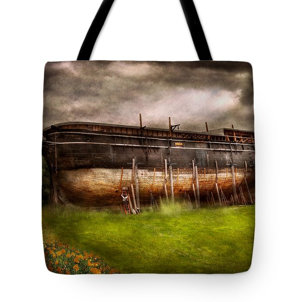 Boat - The Construction Of Noah's Ark Tote Bag by Mike Savad