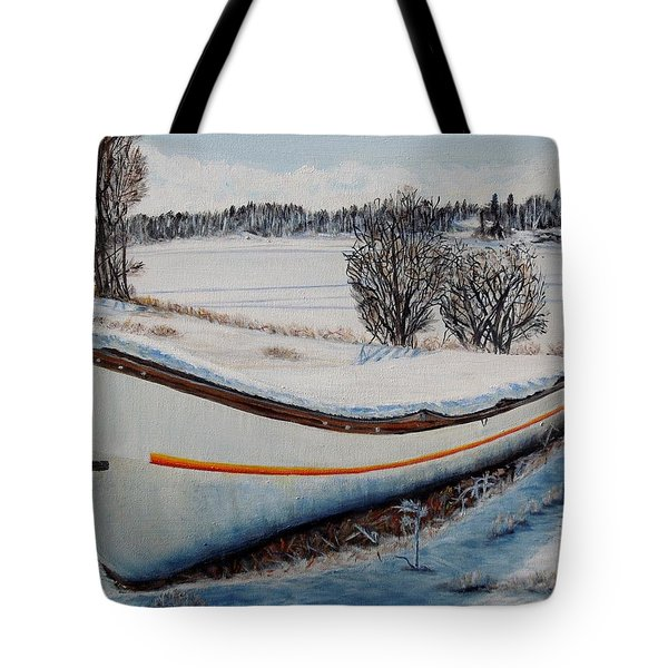 Boat Under Snow Tote Bag by Marilyn  McNish