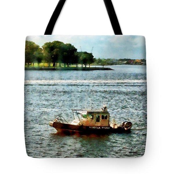 Boats - Police Boat Norfolk Va Tote Bag by Susan Savad