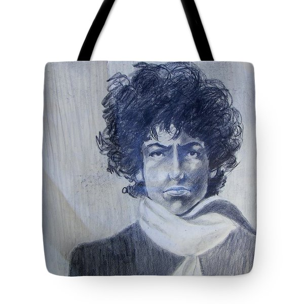 Bob Dylan In The Rock Years Tote Bag by Judith Redman