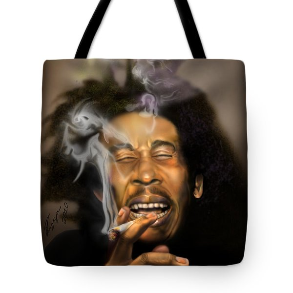 Bob Marley-Burning Lights 3 Tote Bag by Reggie Duffie