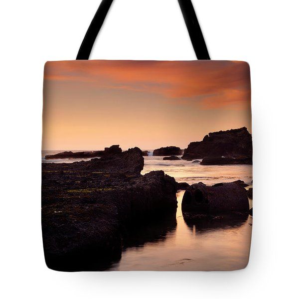 Boiler Bay Sunset Tote Bag by Mike  Dawson