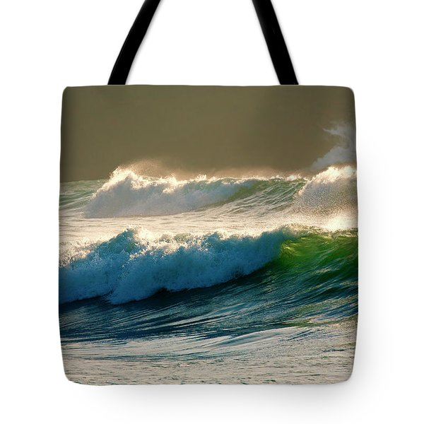Boiler Bay Waves Rolling Tote Bag by Mike  Dawson