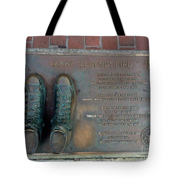 Boston Celtics Larry Bird Tote Bag by Gina Sullivan