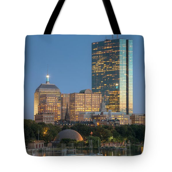 Boston Night Skyline Iv Tote Bag by Clarence Holmes