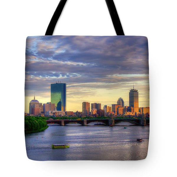 Boston Skyline Sunset Over Back Bay Tote Bag by Joann Vitali