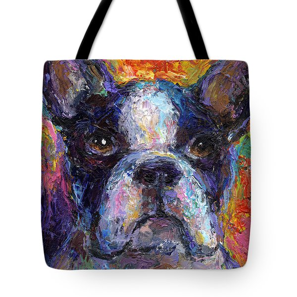 Boston Terrier Impressionistic Portrait Painting Tote Bag by Svetlana Novikova