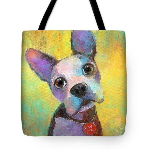 Boston Terrier Puppy Dog Painting Print Tote Bag by Svetlana Novikova