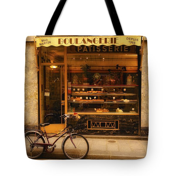 Boulangerie And Bike Tote Bag by Mick Burkey