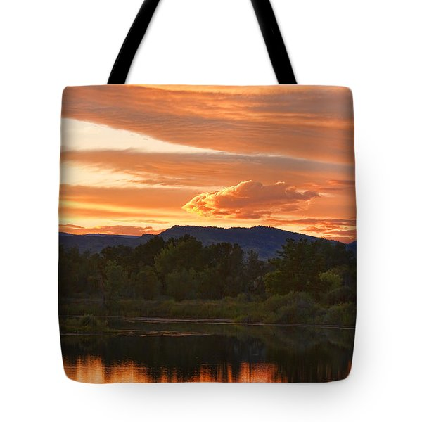 Boulder County Lake Sunset Vertical Image 06.26.2010 Tote Bag by James BO  Insogna