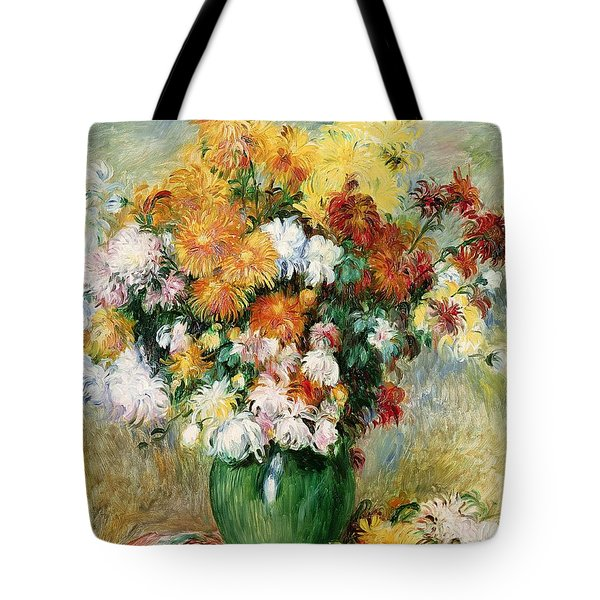 Bouquet Of Chrysanthemums Tote Bag by Pierre Auguste Renoir