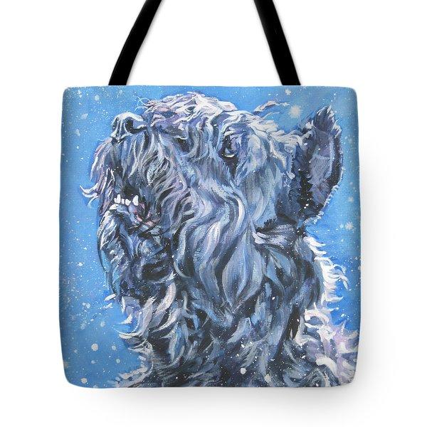 Bouvier Des Flandres snow Tote Bag by Lee Ann Shepard
