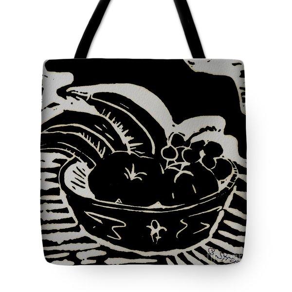 Bowl of Fruit Lino Print Tote Bag by Caroline Street