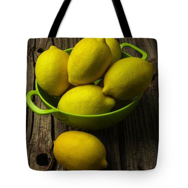 Bowl Of Lemons Tote Bag by Garry Gay