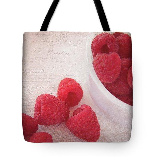 Bowl Of Red Raspberries Tote Bag by Cindi Ressler