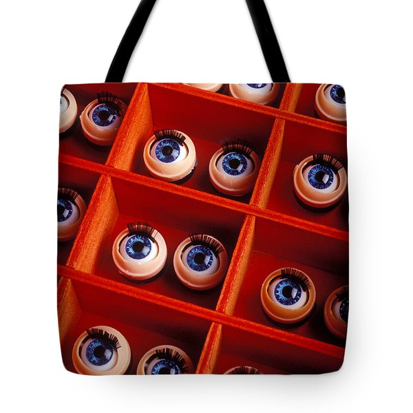 Box Full Of Doll Eyes Tote Bag by Garry Gay