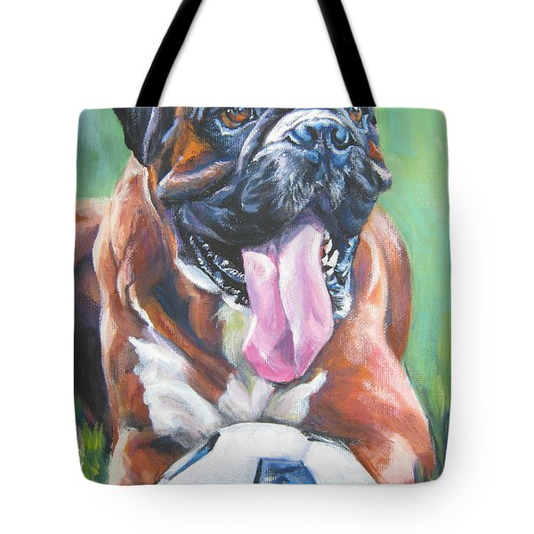 boxer soccer Tote Bag by Lee Ann Shepard