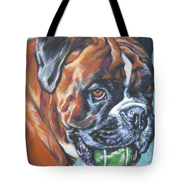 boxer tennis Tote Bag by Lee Ann Shepard