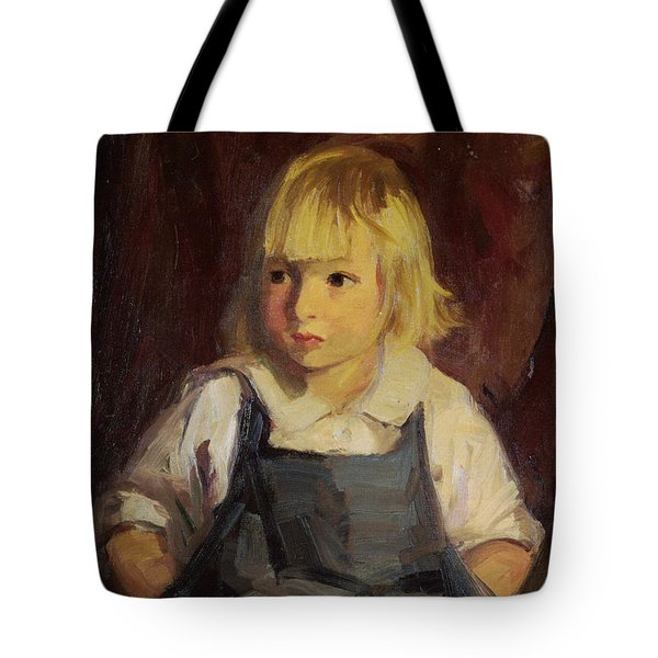 Boy In Blue Overalls Tote Bag by Robert Henri