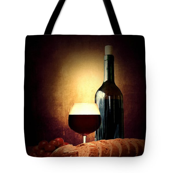 Bread and wine Tote Bag by Lourry Legarde